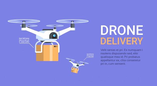 Bannière de livraison de drone avec les coptères modernes de modèle avec les boîtes volent