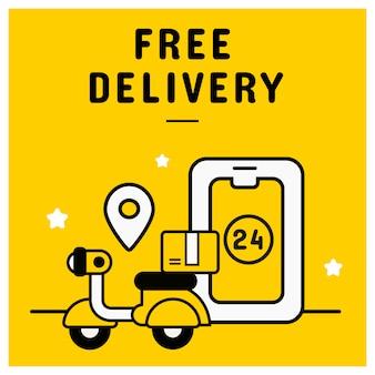 Bannière de livraison gratuite du concept de magasinage en ligne