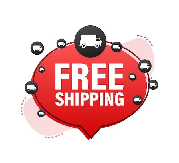 Bannière de livraison gratuite. insigne avec camion. illustration de stock de vecteur.