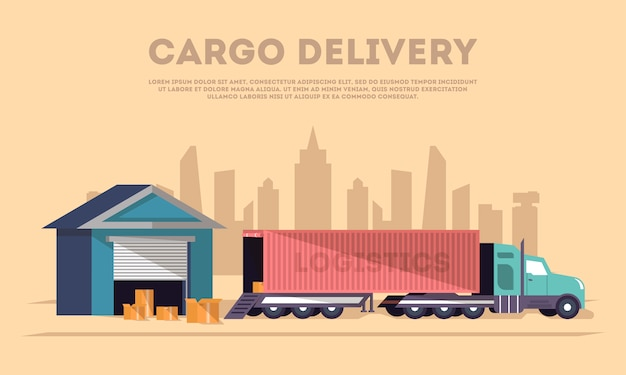 Bannière de livraison et de logistique de marchandises