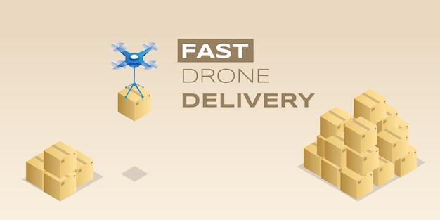 Bannière de livraison rapide de drone