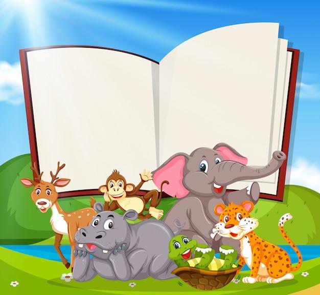 Une bannière de livre blanc avec des animaux sauvages