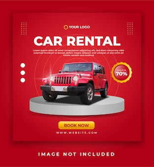 Bannière de location de voiture ou modèle de publication de promotion sur les réseaux sociaux