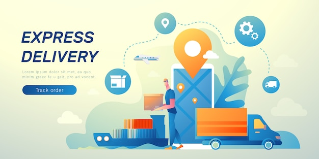 Bannière logistique et commerce électronique