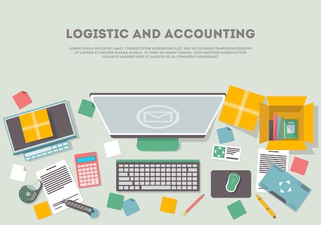 Bannière logistique et comptable