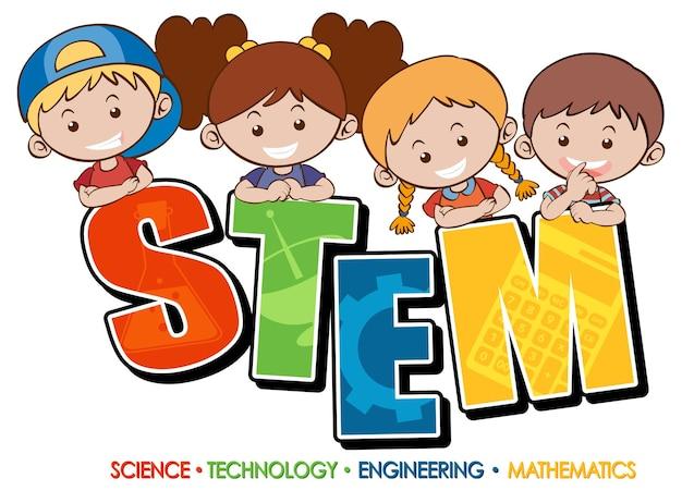 Bannière de logo d'éducation stem avec personnage de dessin animé pour enfants