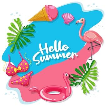 Bannière de logo hello summer avec des articles de plage