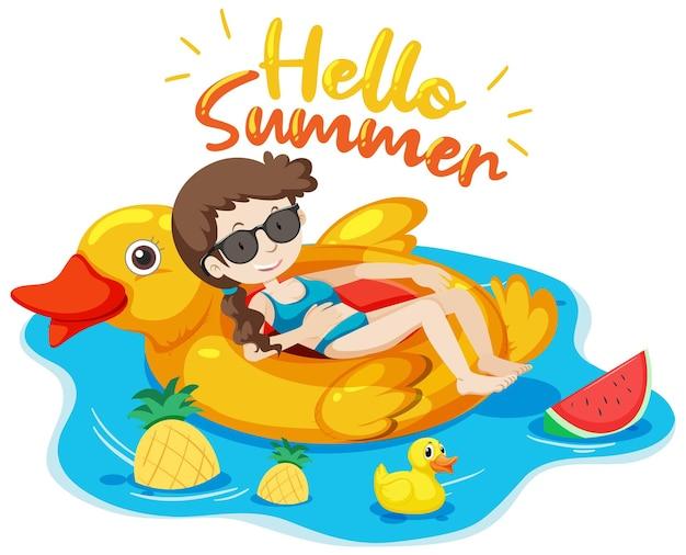 Bannière de logo hello summer avec une fille allongée sur un anneau de natation isolé