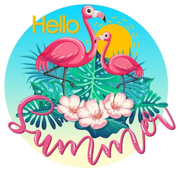 Bannière de logo hello summer avec flamant rose et feuilles tropicales isolées