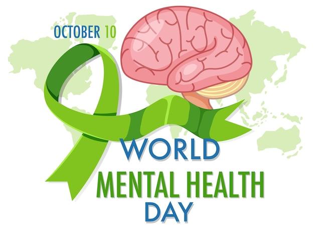 Bannière ou logo de la journée mondiale de la santé mentale isolé sur fond blanc