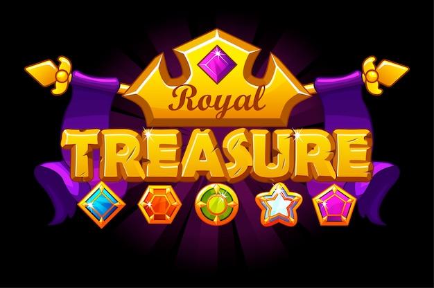 Bannière de logo de trésor avec couronne dorée et gemme.