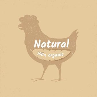 Bannière de logo vintage de poulet bio