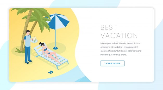 Bannière de loisirs de plage de sable. vacances d'été, idée d'interface de page d'accueil pour site web tropical resort avec illustrations isométriques
