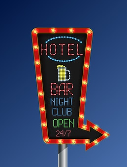 Bannière de lumière dorée flèche rétro avec signe de l'hôtel