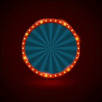 Bannière de lumière rétro cercle avec ampoules sur le contour.