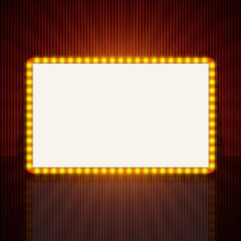 Bannière de lumière rétro rougeoyante pour le texte.