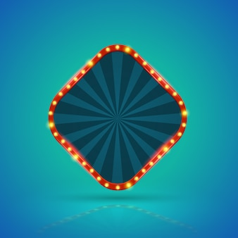 Bannière lumineuse carrée rétro avec ampoules sur le contour