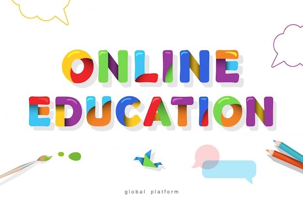Bannière lumineuse de l'éducation en ligne. lettres de dessin animé.