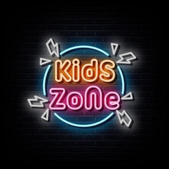 Bannière lumineuse d'élément de conception d'enseigne au néon de zone d'enfants