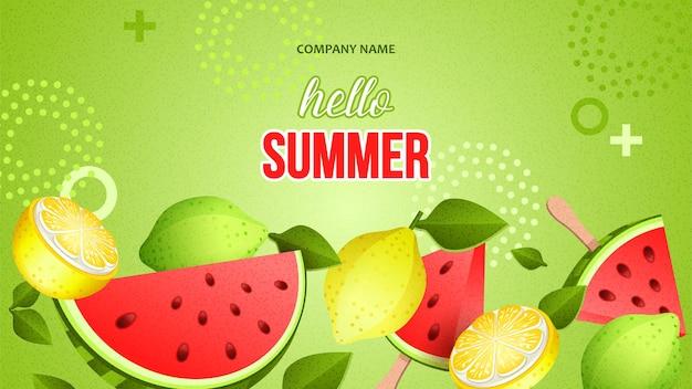 Bannière lumineuse d'été avec des fruits mûrs et un morceau de pastèque rouge