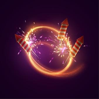. bannière lumineuse festive avec des fusées de feux d'artifice étincelants, des feux d'artifice, des flashs et une étiquette de texte.