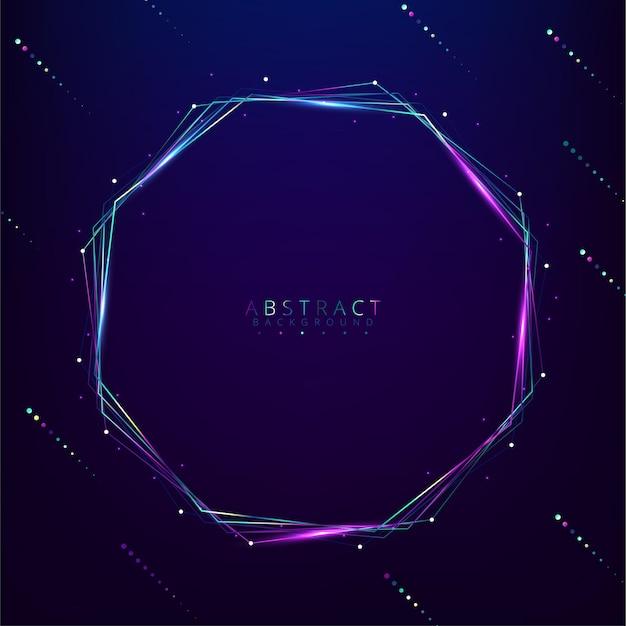Bannière lumineuse hexagonale avec espace vide
