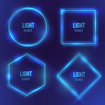 Bannière lumineuse moderne avec lumière bleue