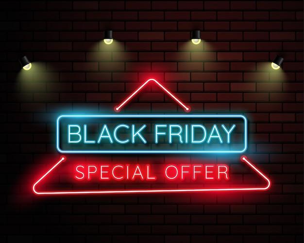 Bannière lumineuse noire au vendredi