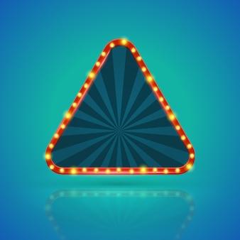 Bannière lumineuse rétro de triangles