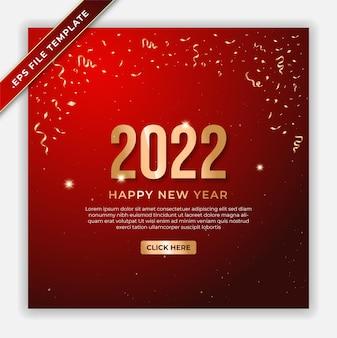 Bannière de luxe du nouvel an 2022 ou flux d'affiches instagram avec fond rouge
