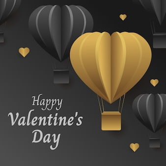 Bannière de luxe de la saint-valentin en or, des ballons à cœur noir dans les airs, pour célébrer la saint-valentin.
