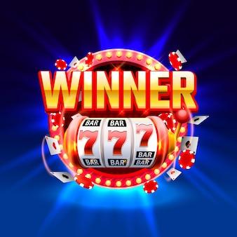 Bannière de machines à sous 777 de gagnant de casino. illustration vectorielle