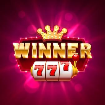 Bannière de machines à sous de casino de cadre gagnant. illustration vectorielle