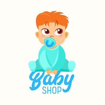 Bannière de magasin de bébé, sucette de succion de petit enfant, sucette de bébé ou mannequin