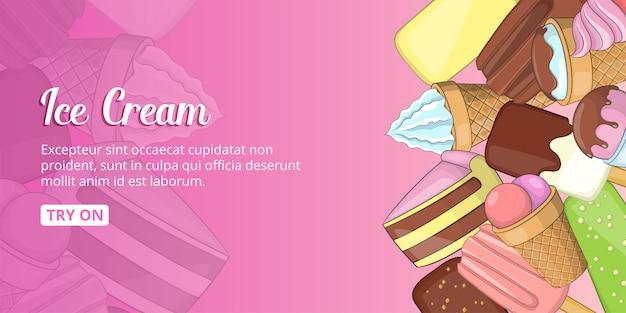 Bannière de magasin de crème glacée horizontale, style cartoon
