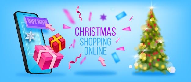 Bannière de magasinage en ligne hiver noël avec arbre de noël décoré, écran de smartphone, coffrets cadeaux