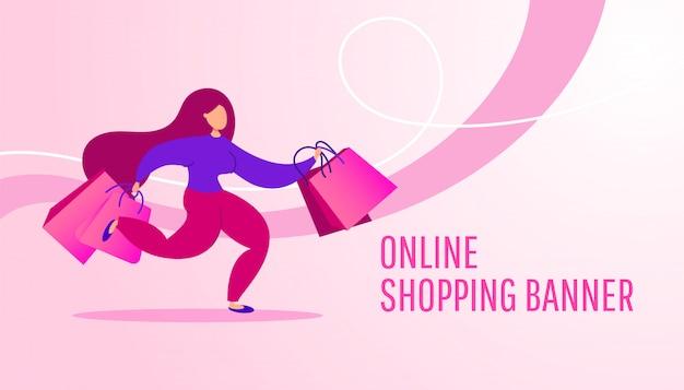Bannière de magasinage en ligne avec une jeune fille avec des paquets de cadeaux shopping s'exécute sur un rose.