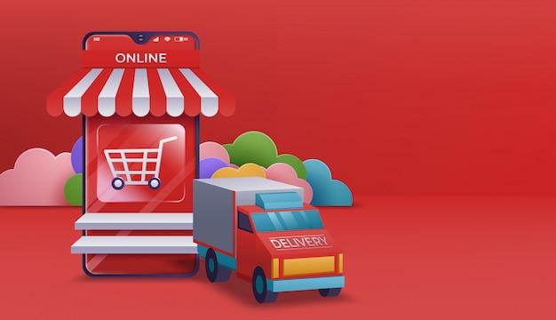 Bannière de magasinage en ligne, modèles d'applications mobiles. illustration