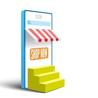 Bannière de magasinage en ligne avec smartphone et escaliers illustration vectorielle