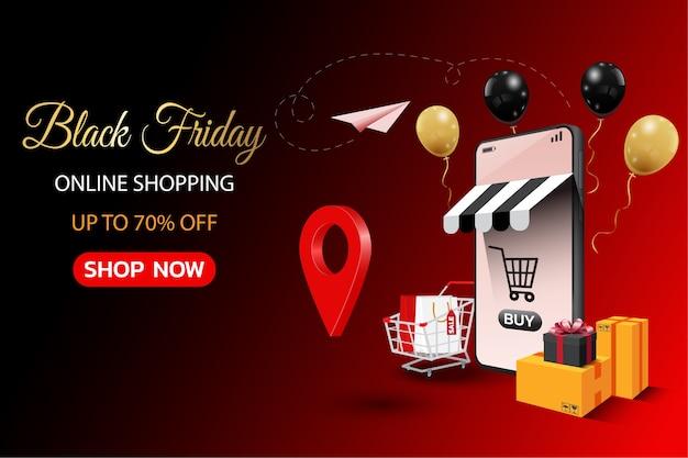 Bannière de magasinage en ligne vendredi noir sur mobile