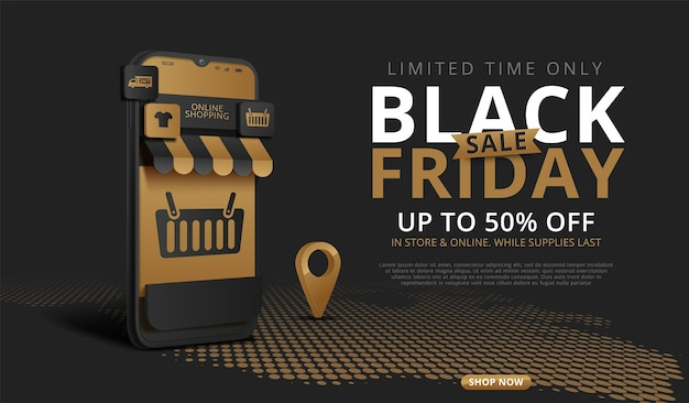 Bannière de magasinage en ligne vendredi noir