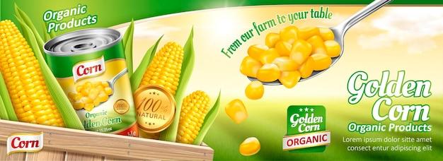 Bannière de maïs en conserve biologique avec du maïs délicieux