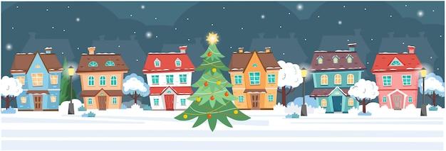 Bannière avec des maisons la nuit d'hiver chalets arbres lampadaires arbre de noël la nuit de noël