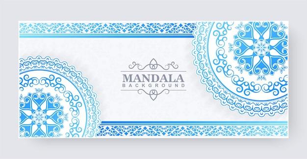Bannière de mandala dégradé bleu