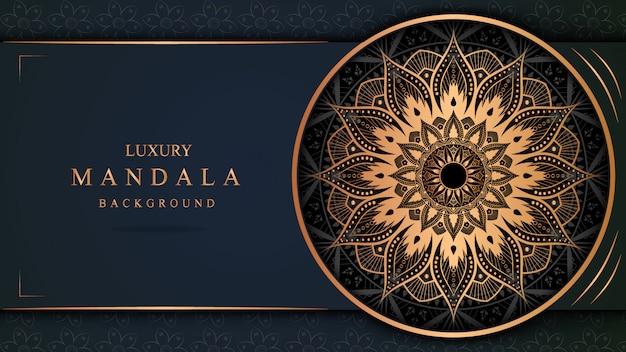 Bannière de mandala de luxe avec décoration en or