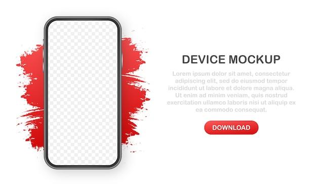 Bannière de maquette de périphérique. interface de conception ux pour smartphone. écran vide pour la promotion de la vente de médias.