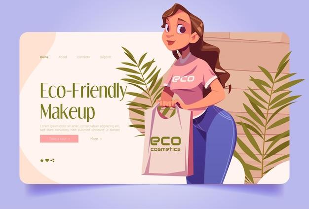Bannière de maquillage écologique avec une vendeuse