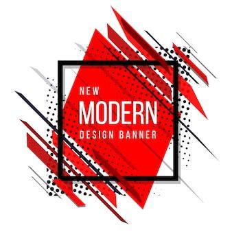 Bannière de marbre abstrait moderne rouge et noir