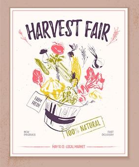 Bannière de marché de producteurs de vecteur avec panier de croquis dessinés à la main plein de légumes crus éclaboussant bon pour le marché de producteurs et bannières de foire alimentaire et publicités étiquettes de prix d'emballage de menu, etc.