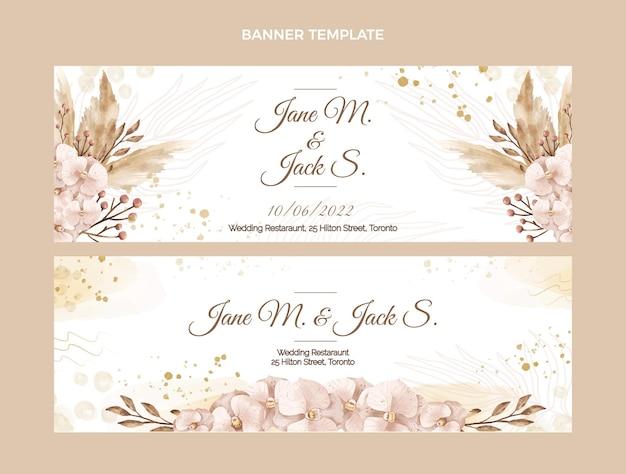 Bannière de mariage boho aquarelle